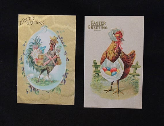 2 Vintage Easter Postcards.. Rooster Chicken Dressed Humanized EMB DB UNUSED (Lot #4)