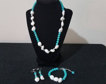 turquoise beaded necklace set,  necklace set, necklace earring and bracelet set