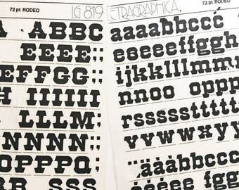 RODEO 72 point is a Vintage Letraset Instant Lettering Rub Off Alphabet Sheets