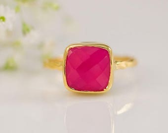40 OFF - Fuchsia Pink Chalcedony Ring - Gemstone Ring - Stacking Ring - Gold Plated - Cushion Cut Ring