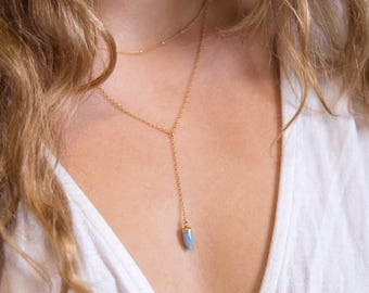 Blue Opal Lariat Necklace, Gemstone Drop Necklace, October Birthstone, 14k Gold Filled Y Necklace, Simple Layering Jewelry, Clothing Gift