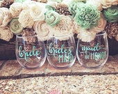 Bridesmaid Gift- Vinyl Decal- Wine Glass Decal- Wedding Decal- Bridal Party Decals- Bridal Party Gift- Bride Decal- Bridesmaid Decal