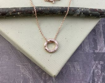 Rose gold vermeil circle necklace, rose gold jewelry, yoga, eternity circle, minimalist, eternity, bridesmaid gift, maid of honor gift N375