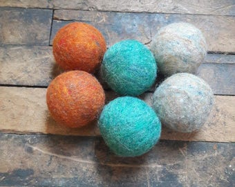 Yellowstone- set of 6 wool dryer balls reusable zero waste laundry