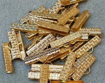 22mm crimp, Gold Metal Crimp, Ribbon Crimp End, Necklace crimp, cord end clasp, ribbon clamp, leather crimp end, necklace crimp