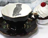 SELECTED SECONDS Black & Gold Owl or Custom Personalized Teacup, Owl Teacup, Owl Mug, Owl China, Owl Plate, Owl Porcelain, Owl Cup
