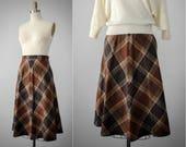 large plaid wool skirt | brown plaid wool skirt | brown wool skirt | vintage plaid skirt | brown plaid skirt | 1970s wool skirt | small