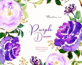 Purple rose clipart, lavender roses clipart, watercolor clipart, clipart floral roses, flower clipart, flower clipart roses, wedding clipart