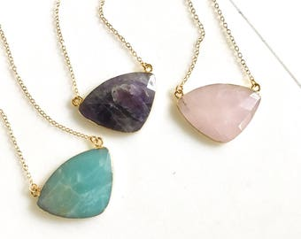 Triangle Stone Necklace. Geode Necklace. Gemstone Jewelry. Stone Necklace. Amethyst Gold Necklace.  Chunky Necklace. Gift.