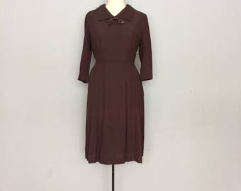 1930s Brown Dress with Bow