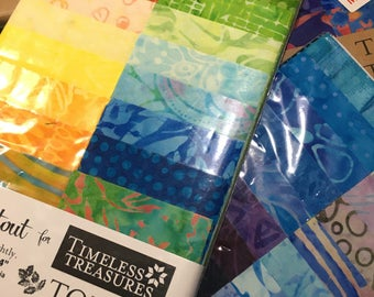 5 Different Selections of Timeless Treasures Tonga Treats Jr Batik Fabric Strips, Jelly Roll, Roll Ups