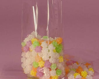 GLAMSALE 25 Medium Clear Cellophane Bags with Gusset,  Cello Party Favor Bags, Medium Cello Bags for Candy, Cookies, Popcorn, Wedding Candy