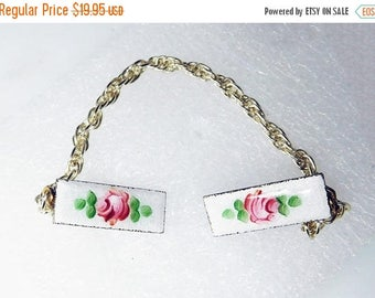 SALE Sweater Guard/Clip Vintage enamel Red Roses Guilloche