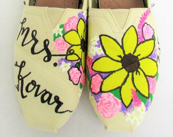 The Kovar - Flower Wedding Custom Painted Floral TOMS Shoes