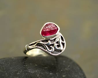 Rough ruby ring sterling silver raw ruby stone ring, artisan ring, July birthstone, gift for her paisley pattern jewelry