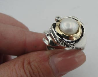 Hadar Jewelry Handcrafted Israel Art Sterling Silver Pearl Ring gold 9k zircon ,gift , size 7 (ms 199)
