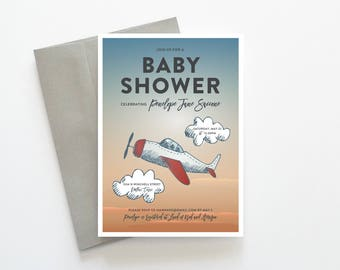 Boy Baby Shower Invitation, Printable Baby Shower Invitation Boy, Airplane Baby Shower Invitations for Boys, Baby Shower Invitation Boy