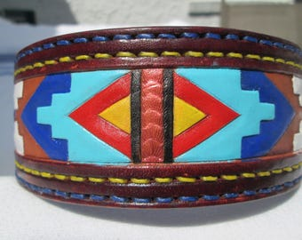 Border Collie dog collar, American tribal collar, large collars, Shar Pei collar, handmade leather collars, thick collars