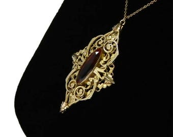 Vintage 1970's Pendant Necklace Victorian Revival