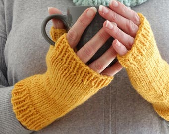 Sunny YELLOW FINGERLESS GLOVES. Knit Fingerless Mitts. Wrist Warmers. Alpaca Blend Texting Mittens. Yellow Gloves. Hand Knit. Gloves for Her