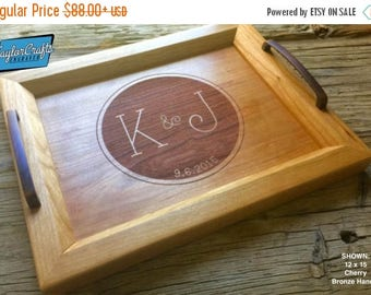 ON SALE Personalized Wood Tray, Engraved Serving Tray - 12x15 - Wedding Gift, Housewarming Gift, Anniversary Gift