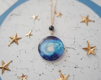 Space Locket, Space Necklace, Space Pendant, Star Locket, Celestial Locket, Blue Locket, Gemstone Locket, Space Jewellery, Sky Necklace