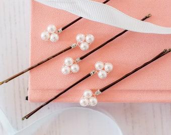 Pearl Hair Pins, Pearl Cluster Hair Slides, Pearl Bobby Pins, Wedding Hair Pins, Bridal Hair Pins, Flower Girl Pins, Flower Girl Accessories