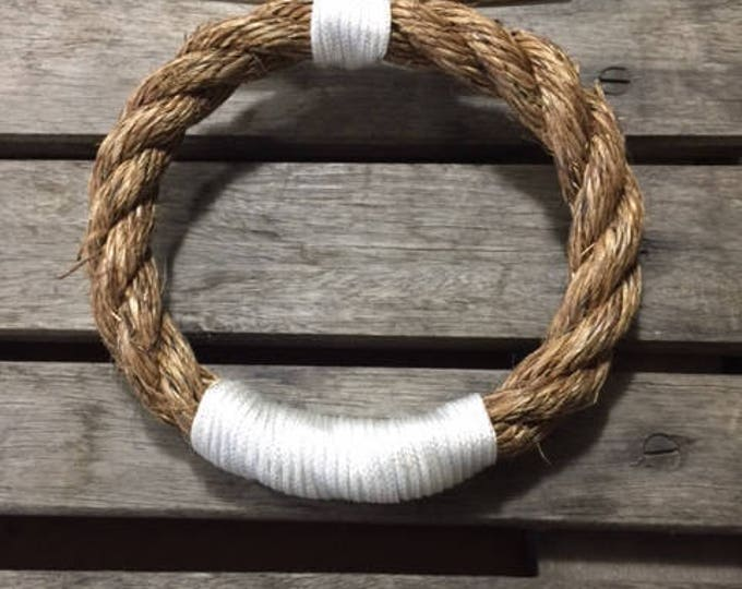Rope Towel Ring With Stainless Steel Cleat Nautical Decor Bathroom Towel Holder Hook Fixture Beach Manila Rope White Accent