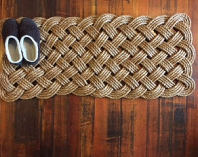 """50"""" X 20"""" Manila Door Mat Runner Knotted Tightly Woven Nautical Doormat Rope Rug Nautical"""