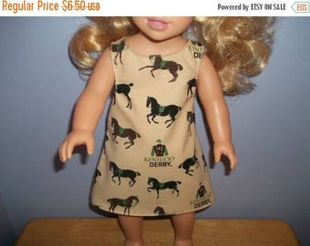 American 18 Inch Doll clothes dress tan with Derby horses on it