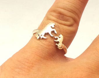 Sterling Silver Mother Daughter Horse Ring - Horse Jewelry, Animal Jewelry, Horses Horse Lovers Gift, Cute  Dainty Wrap Ring, Mom Gift,Pony