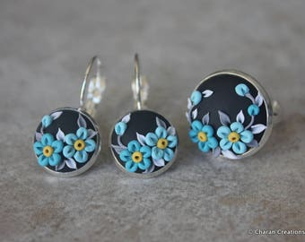 Beautiful Polymer Clay Applique Statement Earrings and Ring Set in Turquoise, Gray and Black