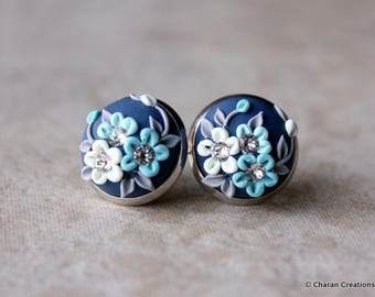 Lovely Polymer Clay Applique Statement Stud Earrings in shades of Blue
