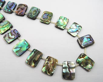 "13x18mm Rectangle Natural Genuine Mother Pearl Shell Abalone Shell Beads Strand 15""L = 38cm Jewelry Making Supply TheTasteJewelry"