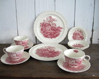 Vintage Red Transferware Dinnerware Pink Castle English Scenes  Cups Dinner Plates Bowls Taylor Smith Taylor TS&T 6412