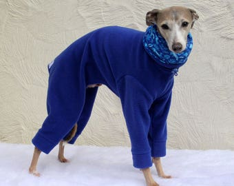 Made to order Italian Greyhound Royal Blue Jammies with Fox and Hare Woodland Print jersey lined Snood/Neck Warmer - see item details
