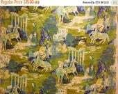 40% OFF NOW Wild Horses: Amazing Vintage Screen-printed Burlap BTY, Univtex Vat Dyed Screen Print, Impressionist Style Print Design, Home De