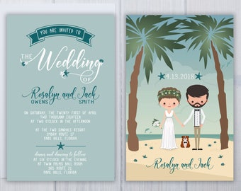 Ceremony On The Beach Wedding Invitations | Bulldog Wedding Invitation Set | Illustrated Wedding Suite | Boho Wedding Invite Set