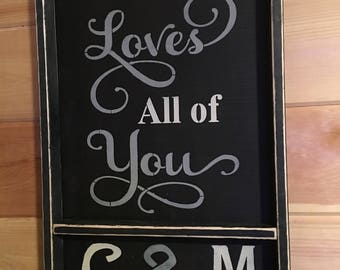 """Primitive distressed initial wall sign personalized all of me loves all of you 24""""x15 1/2"""" get initials or EST DATE"""