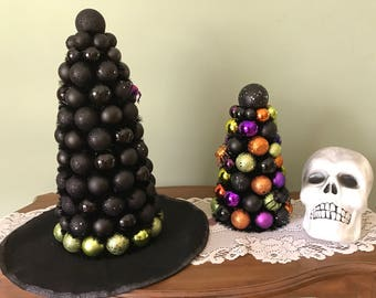 """HALLOWEEN  TABLE Top WITCH'S Hat 17"""" Shatterproof or Small Halloween Tree Halloween Decor"""