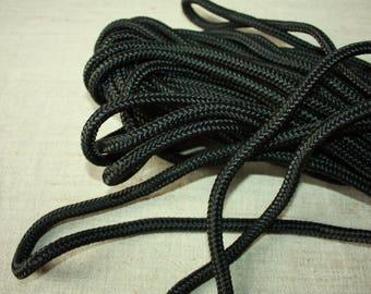 8 mm Braided Nylon Cord 11 Yards = 10 Meter Elegant Rope - Black - Stron Rope - Macrame Cord
