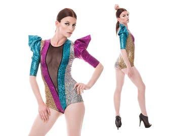 Rainbow Bodysuit, Dance Costume, Burning Man, Festival Clothing, Stage Wear, Spandex Leotard, Aerial Silks, Music Video, by LENA QUIST