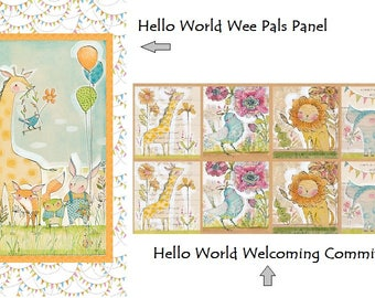"Hello World - Good Day Panels, Blend Fabric, Animals Cori Dantini, 24"" x 44"" - Choice of Panel"