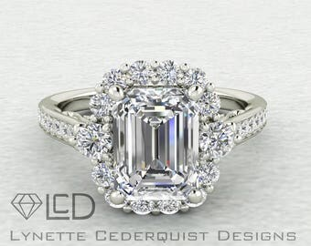 1.5 carat Emerald Cut Forever One Moissanite Halo Cathedral Style Engagement Wedding Ring LCDH034