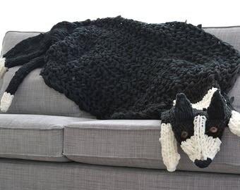 Long Dog Blanket, Dog Rug, Border Collie, Fleece Blanket, Fleece Rug,