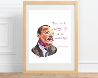 Martin Luther King Jr Portrait || inspiring quote, watercolor portrait Print by Abigail Gray Swartz