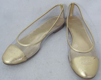 CHANEL gold leather  & clear plastic VINTAGE ballet flats size 38 1/2 made in ITALY