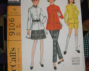 Vintage Pattern c.1967 McCall's No.9106 Jacket, Skirt, Pants, Shorts Size 10  Jr. Uncut