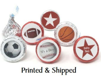 324 Baby Shower Sports Stickers for Candy Kiss® -  Football, Baseball, Soccer, Basketball Labels for Chocolate Kisses for Party Favors