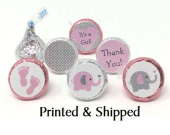324 Baby Shower Pink & Grey Elephant Polka Dot Stickers for Candy Kiss® -  Pink and gray Labels for Chocolate Kisses